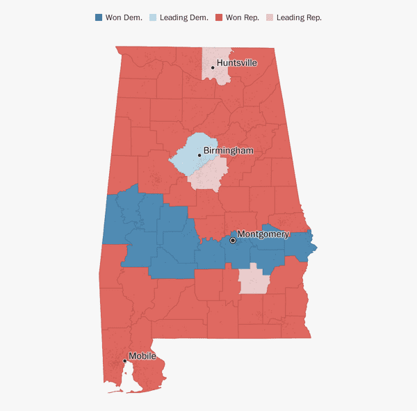 Map Of Texas House District 60.Alabama Election Results 2018 The Washington Post