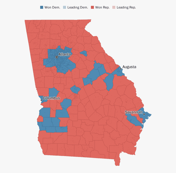 Republican Democratic State Map.Georgia Election Results 2018 The Washington Post