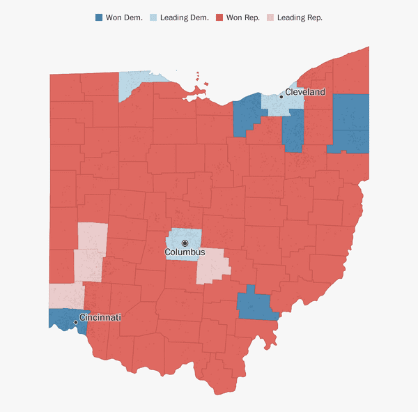 Ohio Election Results 2018 The Washington Post - Map-of-us-counties-2016-election
