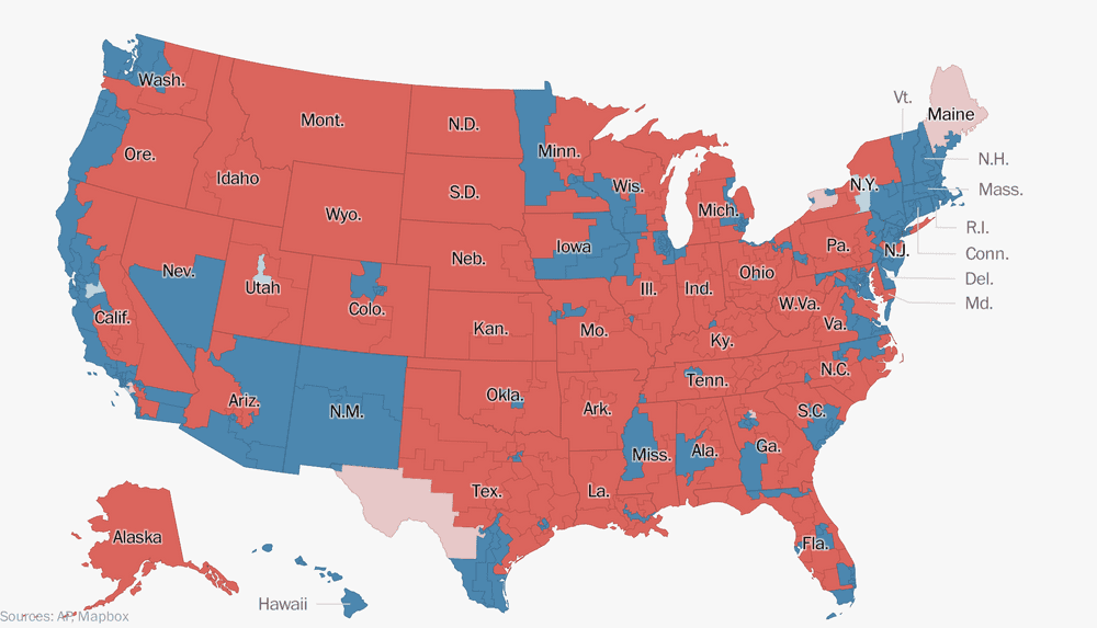 Election Graphics By The Washington Post Washington Post - Us map of presidential outcome