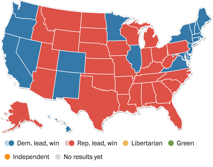Election Aftermath Trump Wins Clinton Concedes The - Live map of us 2016 election