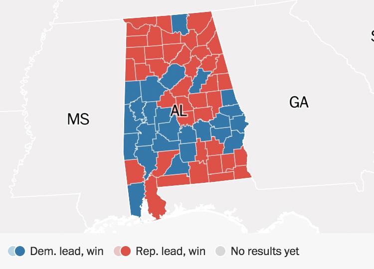 Political Map Us Election.Alabama Election Results Doug Jones Defeats Roy Moore The