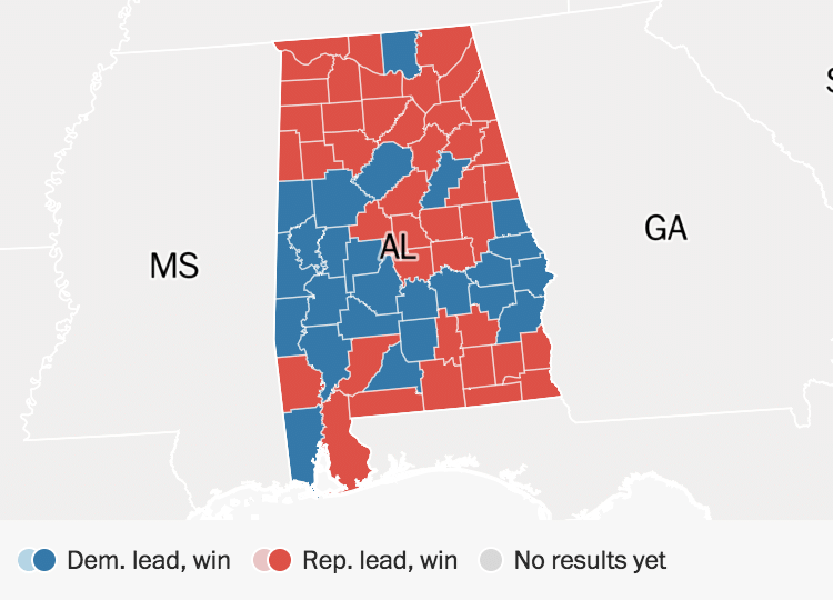 Voting Map Of America 2017.Alabama Election Results Doug Jones Defeats Roy Moore The