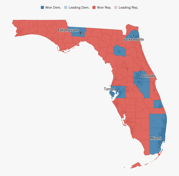 Map Of Florida West Coast.Florida Election Results 2018 The Washington Post