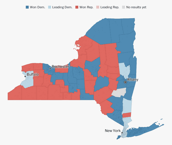 picture relating to Printable Maps of New York State known as Fresh York election achievements 2018 - The Washington Article