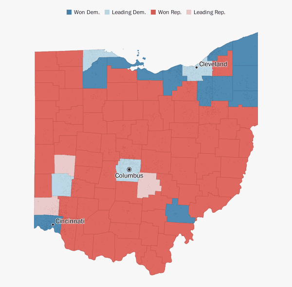 Map Of Us Senators.Ohio Election Results 2018 The Washington Post