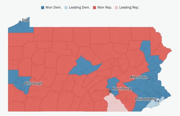 Florida Map Counties.Pennsylvania Election Results 2018 The Washington Post