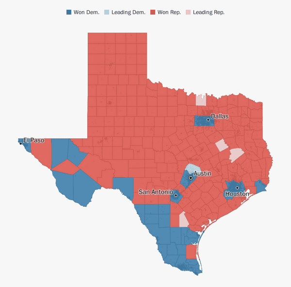 Map Of Texas District 7.Texas Election Results 2018 The Washington Post