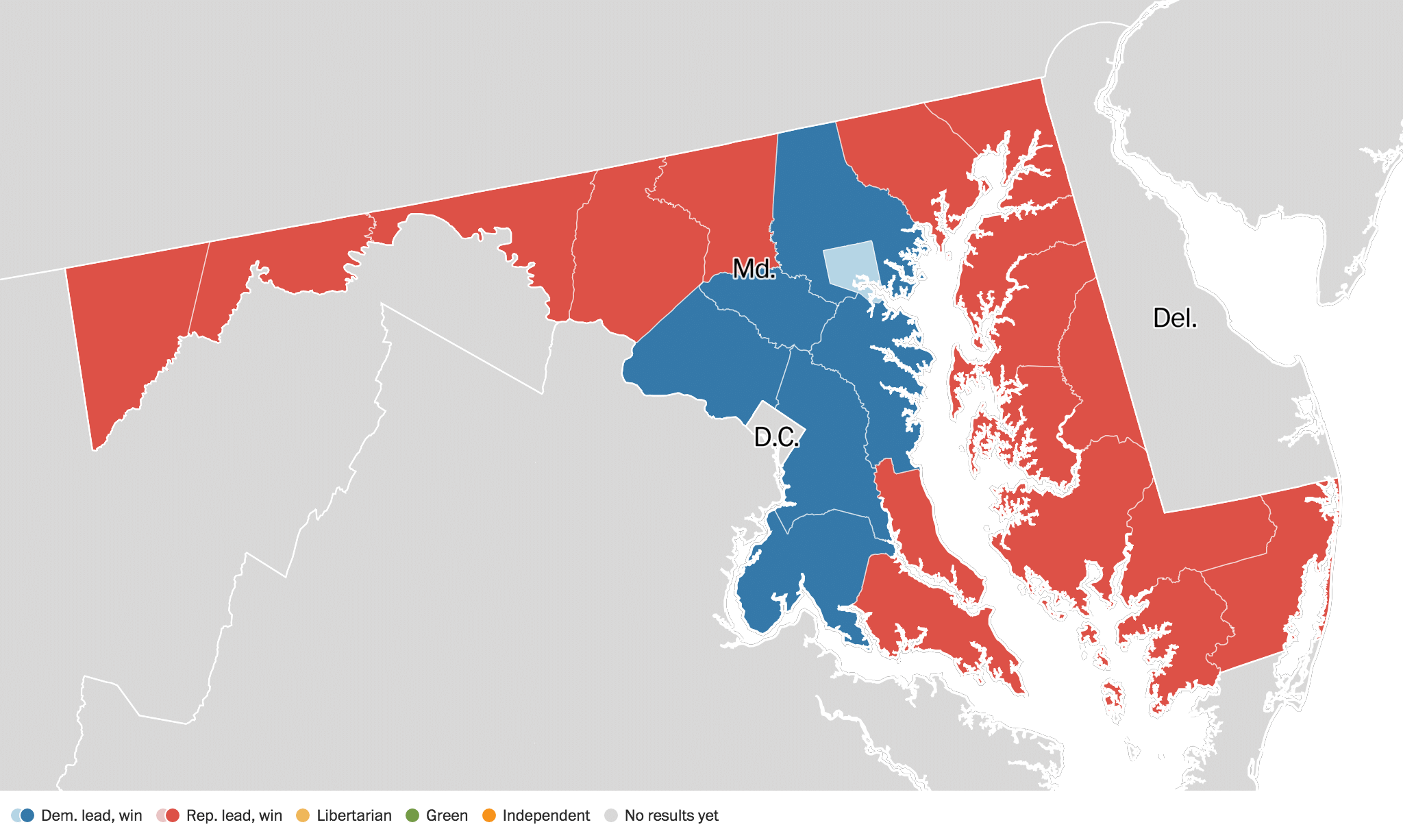 Maryland Election Results Live Maps Polling Analysis - Us map of voting results by county
