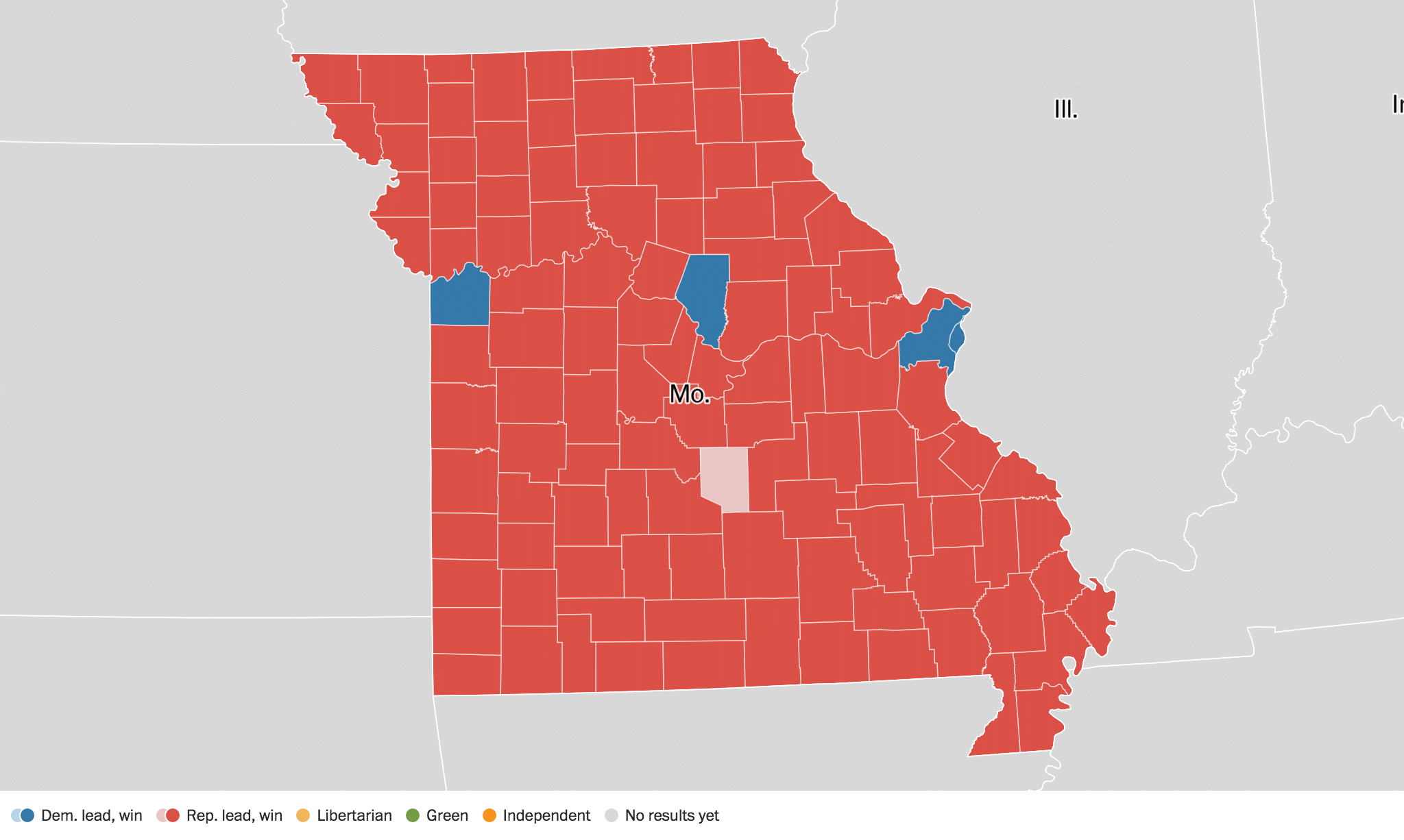 Missouri Election Results Live Maps Polling Analysis - Current us map of election results 2016