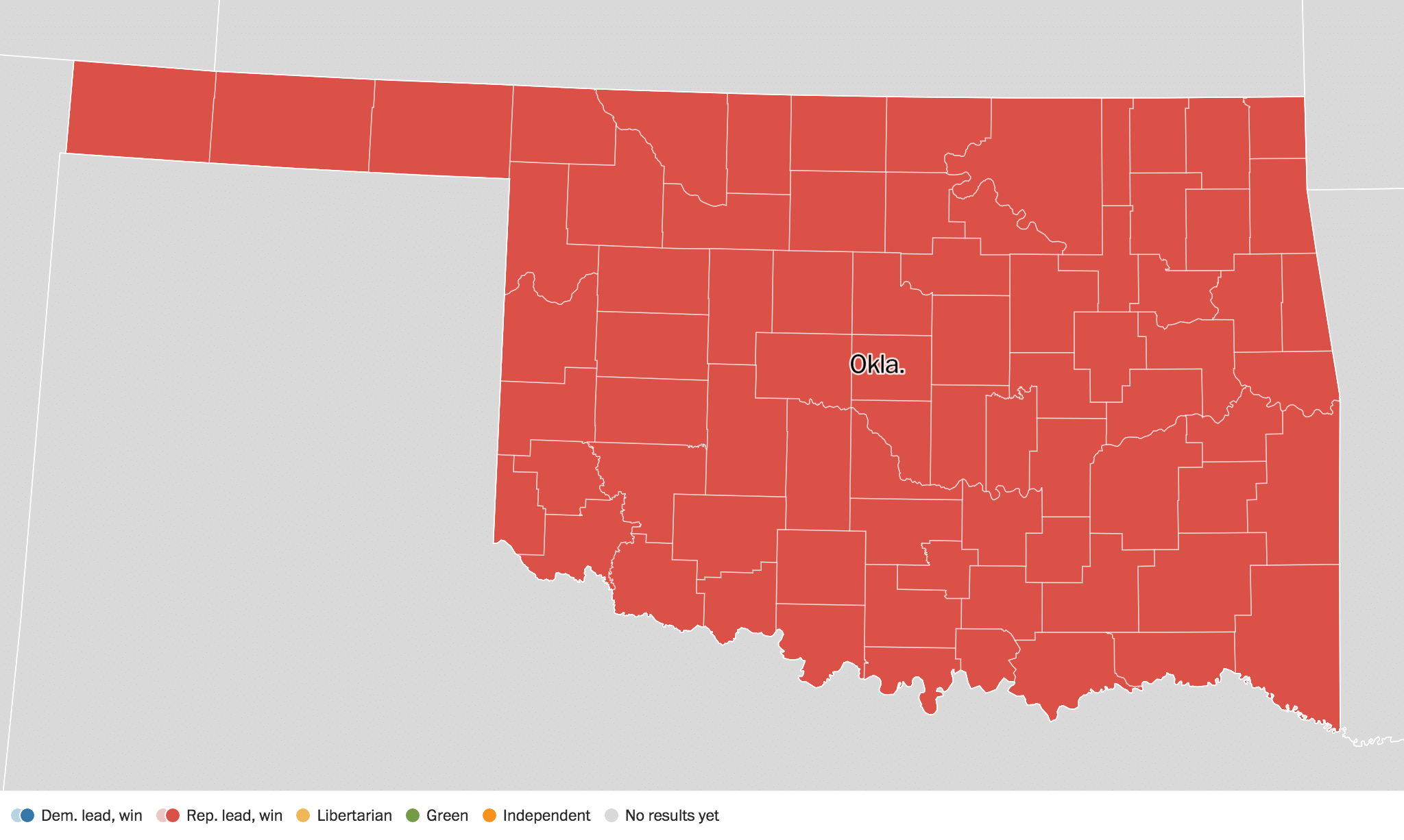 Oklahoma Election Results Live Maps Polling Analysis - Us map of voting results by county
